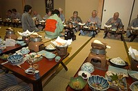 Traditional Japanese inn ryokan meal, Hiroshima prefecture, Honshu, Japan, Asia