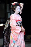 Geisha, maiko trainee geisha in Gion, Kyoto city, Honshu, Japan, Asia