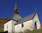 Gotic church St.Nikolaus, mountain village Rojen 2000m, South Tyrol, Italy