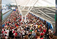 Munich, GER, 14.June 2006 - Soccer fans in the new underground station Froettmaning, which provides direct access to Munich Allianz-Arena.
