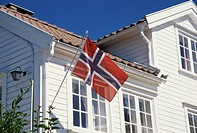 Flag on house, Lillesand, south coast, Norway, Scandinavia, Europe