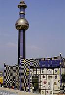 Power and heat supply station Spittelau designed by the artist Friedensreich Hundertwasser, Vienna, Austria
