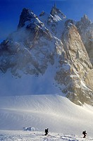 Early start to the ski tour Vallee Blanche France
