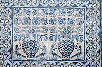 Medieval tilework Evora University, Evora, Alentejo, Portugal, Europe