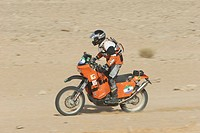 Bike at a rallye in desert