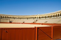 Inside the Bull Ring, Plaza de Toros De la Maestranza, El Arenal district, Seville, Andalusia, Spain, Europe