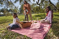 Portrait of young African American family having a picnic outdoors in park, looking at camera