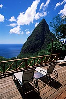 The balcony of one of the villas at the Ladera resort overlooking the Pitons, St. Lucia, Windward Islands, West Indies, Caribbean, Central America