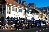 Restaurants long the popular Victoria Road, Camps Bay, Cape Town, South Africa, Africa