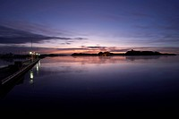 View from the harbour of the old fortress at dawn, Stavern, Norway, Scandinavia, Europe