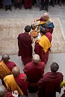 Tibetan Buddhist ceremony to celebrate new year Lhosar, Samtenling monastery, Bodhnath, Kathmandu, Nepal, Asia