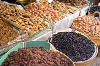 Dried fruit in the souk, Medina, Fez, Morocco, North Africa, Africa