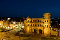 Germany, Rheinland-Pfaltz, Mosel River Valley, Trier, Porta Nigra, 2nd century Roman structure, evening