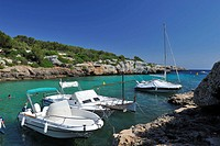 Panoramic view of Cala en Blanes, Minorca, Menorca, Spain