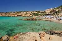 Panoramic view of Playa Tarida to Ibiza, Spain