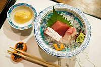 Sashimi raw fish. Kaiseki food style in a traditional restaurant in Gion quarter, Kyoto, Japan