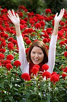 Young woman among red flowers coxcomb