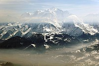 Massif of Mont Blanc, Saint Gervais & valley of l'Arve From les Quatre Têtes, Aravis, Haute-Savoie (thumbnail)