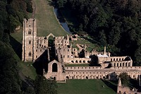 Aerial view of Fountains Abbey, UNESCO World Heritage Site, Yorkshire, England, United Kingdom, Europe
