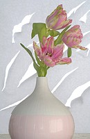 three tulips in vase