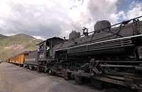 Old tourist steam train Durango_Silverton Silverton Colorado USA