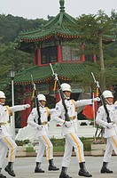 Changing of the guards ceremony, Martyrs Shrine, Taipei City, Taiwan, Asia