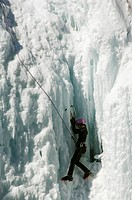 Ice climbing at Ice Park, Box Canyon, climbing capital of America, Ouray, Colorado, United States of America, North America