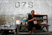 A very small restaurant in Sunda Kelapa the harbour of Jakarta Java Indonesia