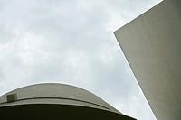 Architectural shot, concrete buildings, low angle view
