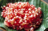 Pomegranate seeds, extreme close-up