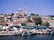 View of Eminonu, port area, Istanbul, Turkey, Europe