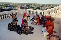 Traditional Kalbali Dance Troupe with musicians, Rajasthan, India
