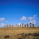 Line of statues, Ahu Tongariki, Easter Island, Chile