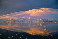 Coastal landscape lit by the midnight sun, Antarctic Peninsula, Antarctica