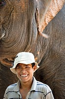 Mahout and his elephant named Sambo, Phnom Penh, Cambodia No model release available