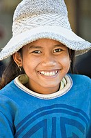 Young Cambodian girl in hat, Phnom Penh, Cambodia No model release available