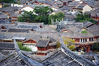 Traditional Chinese tiled rooftops, Lijiang, Yunnan, China