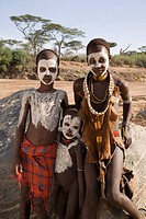 Children of the Hamer tribe with face and body paint, Lower Omo Valley, southern Ethiopia, Ethiopia, Africa