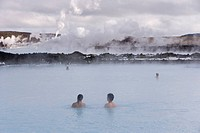 Water rich in blue_green algae cyanobacteria, mineral salts and fine silica mud at the geothermal spa that owes its existence to the Svartsengi geothe...