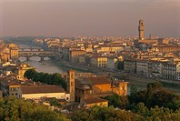 View over the River Arno and city skyline, Florence, Tuscany, Italy, Europe