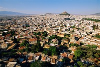 View across Athens from Plaka towards Lykavittos Hill, Greece, Europe