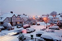 Snowy street scene, Surrey, Greater London, England, United Kingdom, Europe