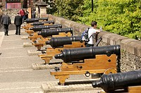 Newly refurbished cannons sitting in front of Guild Hall Sq Derry / Londonderry One of Europe&#8217;s best preserved city walls