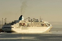Amedea cruise ship arriving into belfast harbour getting ready to dock