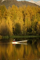 Man Canoeing @ Sunset in Lake SC Alaska Autumn