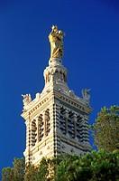 Bell tower of Basilica of Notre Dame de la Garde, Marseille, Bouches_de_Rhone, Provence_Alpes_Cote_d´Azur, France, Europe