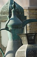Old Arabian coffee pot and jars, Dubai, United Arab Emirates, Middle East