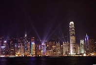 Nightly sound and light show over Hong Kong Island skyline, Hong Kong, China, Asia