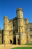 Facade of a gatehouse, Battle Abbey Gatehouse, Battle Abbey, Battle, Sussex, England