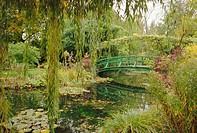 Water garden and bridge, Monet´s garden, Giverny, Haute Normandie Normandy, France, Europe